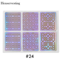 Load image into Gallery viewer, 24 Type Hollow Laser Nail Art Sticker Stencil Set Gel Polish Nail Vinyl Tip Transfer Guide Template Nail Decals Stickers