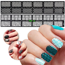 Load image into Gallery viewer, 12 Sheets 3D Nail Vinyls Adhesive Ultra-thin Plaid Net Line Hollow Nail Stencil Sticker for Manicure Nail Art Decoration