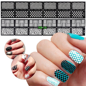 12 Sheets 3D Nail Vinyls Adhesive Ultra-thin Plaid Net Line Hollow Nail Stencil Sticker for Manicure Nail Art Decoration