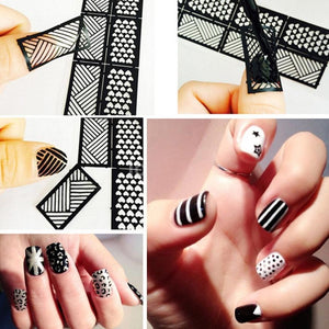 1 Sheet New Vinyls Nail Hollow Irregular Grid Stencil Reusable Manicure Stickers Guide Stamping Template Pretty Nail Tool