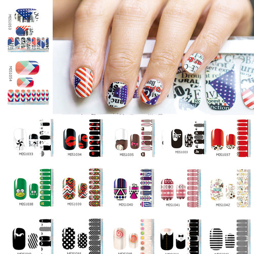 1PC 14pcs/ Sheet Nail Wraps Full Cover Adhesive Nail Art Stickers Waterproof Nail Vinyls Decals  Nails Sticker Art Decorations
