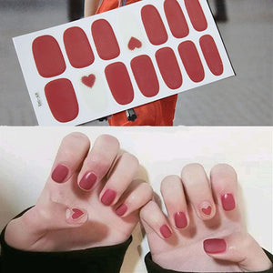 1 Sheet Mixed Designs Heart Valentine Full Cover Nail Vinyls Decals Nail Art Sticker Decorations Manicure Stickers Nail Wraps