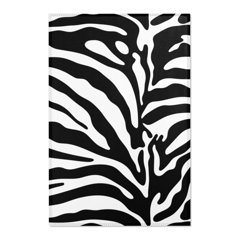 Black and White Zebra Animal Print Area Rug