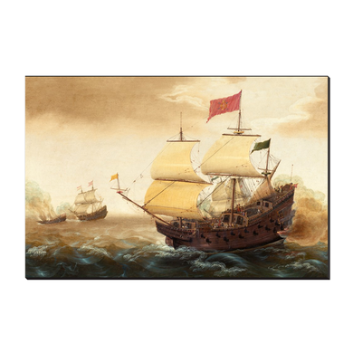 Dutch and Spanish Warships by Cornelis Verbeeck (Left Panel) 12x18 Canvas Wrap