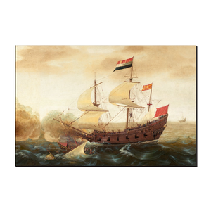 Dutch and Spanish Warships by Cornelis Verbeeck (Right Panel) 12x18 Canvas Wrap
