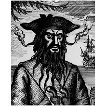 Pirate Blackbeard 8x10 Stand Up Art on Artist Quality Canvas