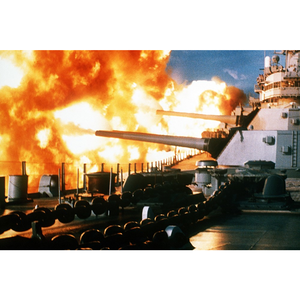 USS New Jersey Firing at Beirut in 1984 Glossy Historical Naval Poster Print