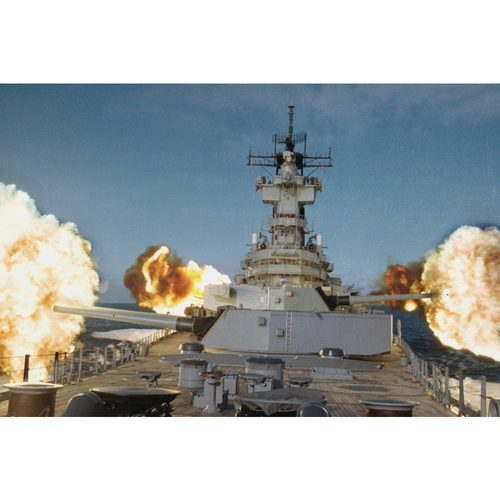 USS New Jersey (BB-62) Firing Mains and Secondary Guns Glossy Historical Poster Print