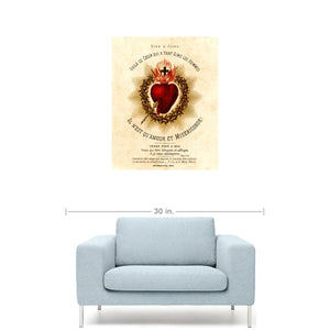 Vive Jesus French Sacred Heart Devotional Giclée
