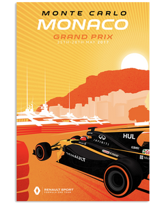 Monte Carlo Grand Prix Renault Car Racing Poster