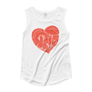 "Ladies' ""Love Mushrooms"" Cap Sleeve T-Shirt"
