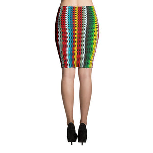 Stretchy Slimming GeoMex Designer Microfiber Pencil Skirt