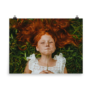 Archival Hair Salon Poster: Girl in Grass With Shiny Red Long Hair