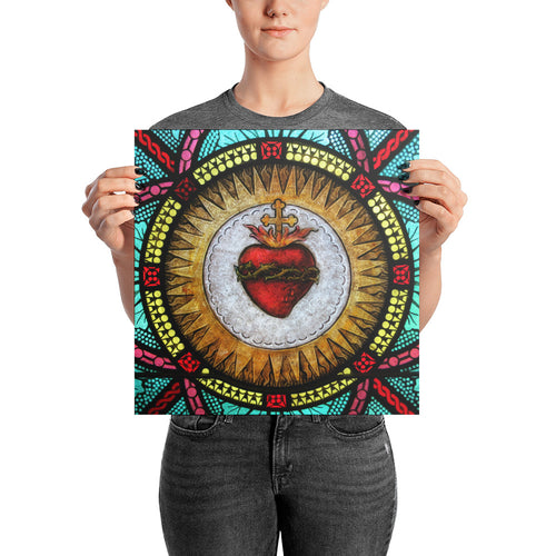 Sacred Heart Stained Glass Poster