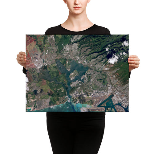 Pearl Harbor From Space on Ready-to-Hang Canvas
