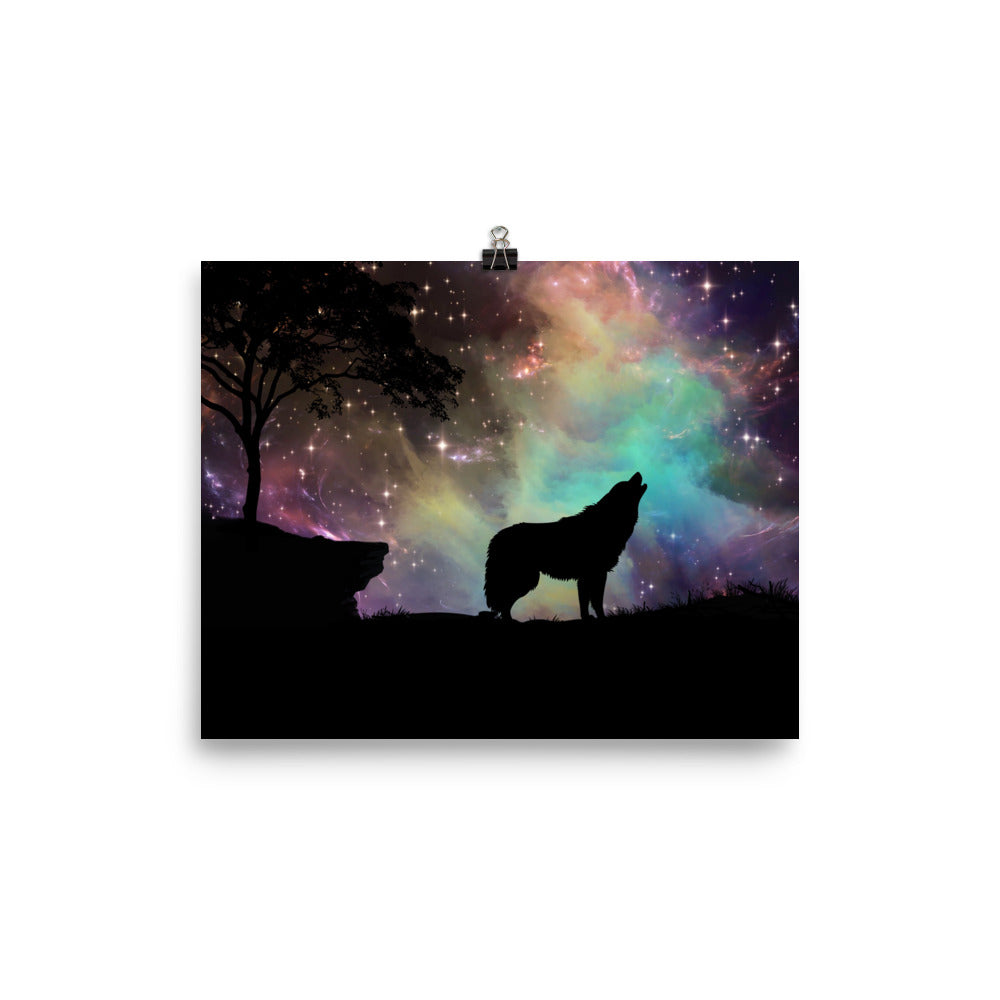 Wolf & Nebula Galaxy Night Archival Poster