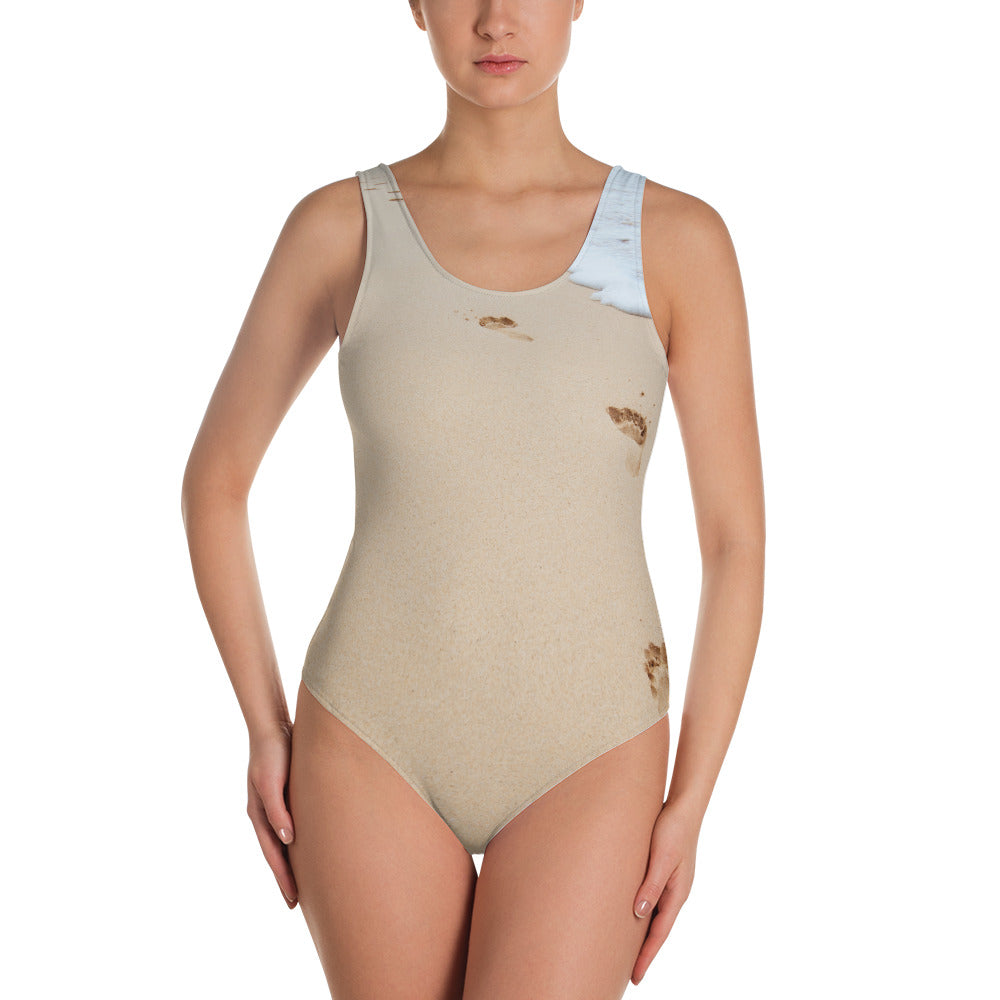 One-Piece Sand & Water Beach Camouflage Swimsuit
