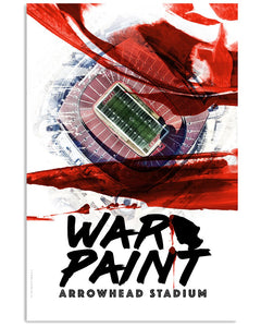 "Chiefs Arrowhead Stadium ""War Paint"" Artist's Proof Glossy Poster Print #1"