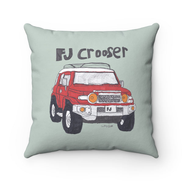 FJ Crooser / FJ Cruiser Kids Art Spun Polyester Square Pillow (Background customizable)