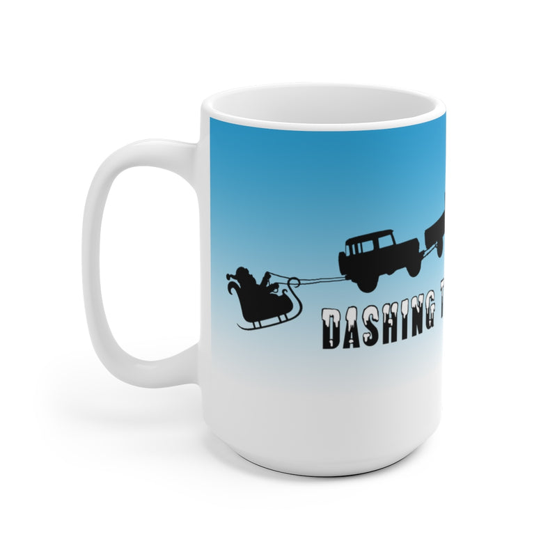 "Land Cruiser Christmas Coffee Mug ""Dashing Through the Snow"" Santa White Ceramic Mug"