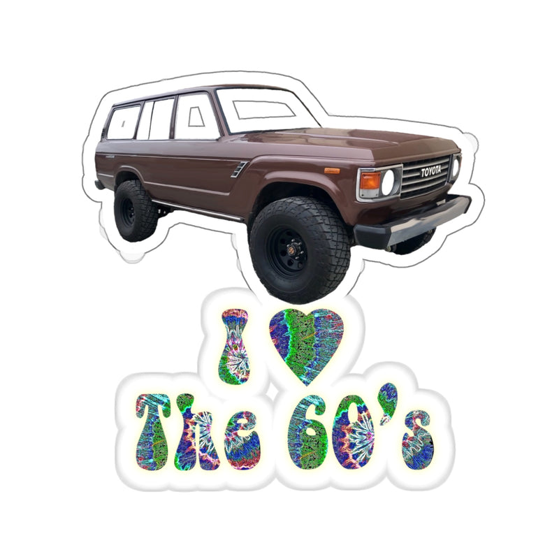 FJ60 'I Love the 60's' Retro Toyota Land Cruiser Sticker by Reefmonkey