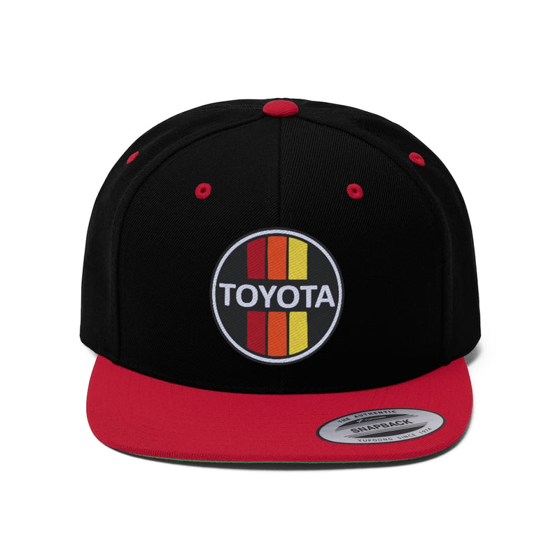 TOYODA Old School Embroidered Flat Brim Snapback hat by Reefmonkey