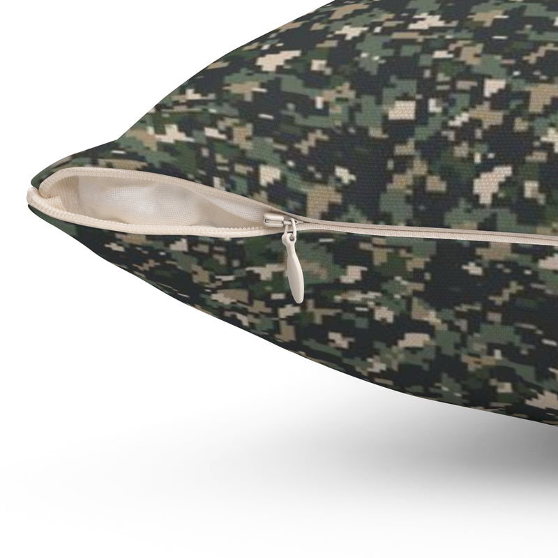 TEQ Camoflauge Spun Polyester Square Pillow by Reefmonkey