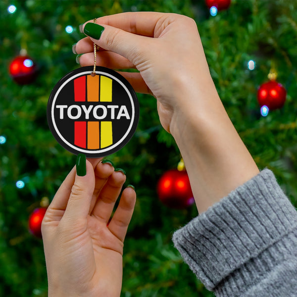 Old School Toyota Ceramic Christmas Tree Ornaments Toyota 3 Stripe Ornament by Reefmonkey Great Gift for Toyota Fans