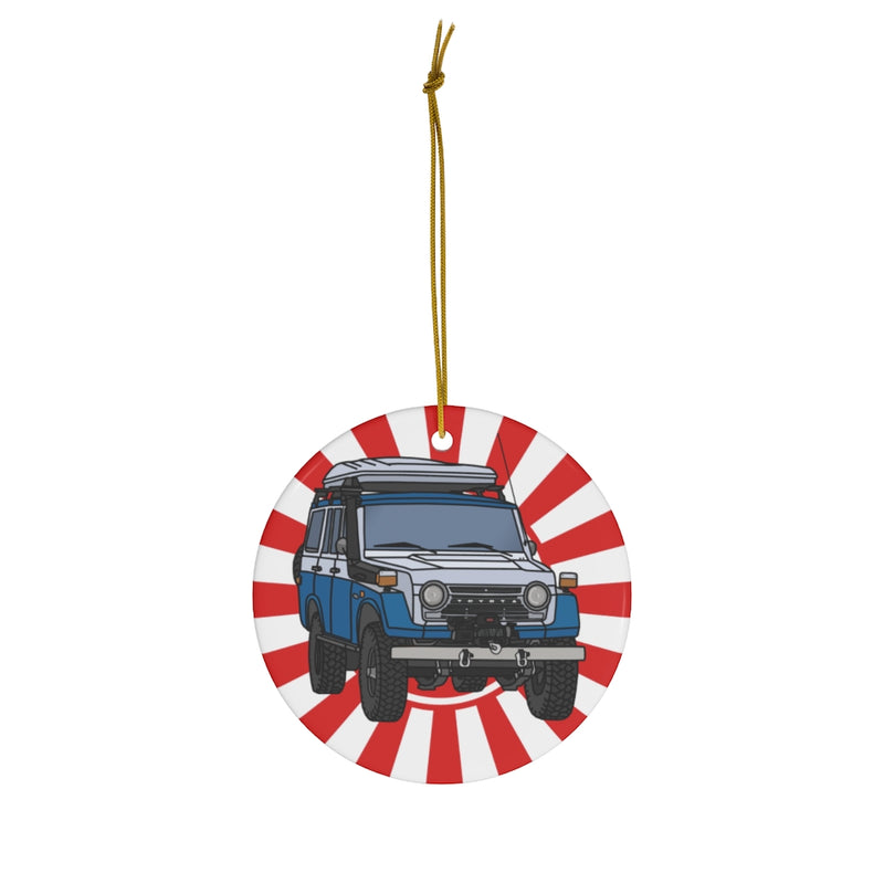 FJ55 Land Cruiser Christmas Ornaments Artist Christopher Marshall by Reefmonkey Gifts for Toyota Fans