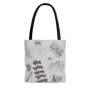 Land Cruiser Gray AOP Tote Bag by Reefmonkey