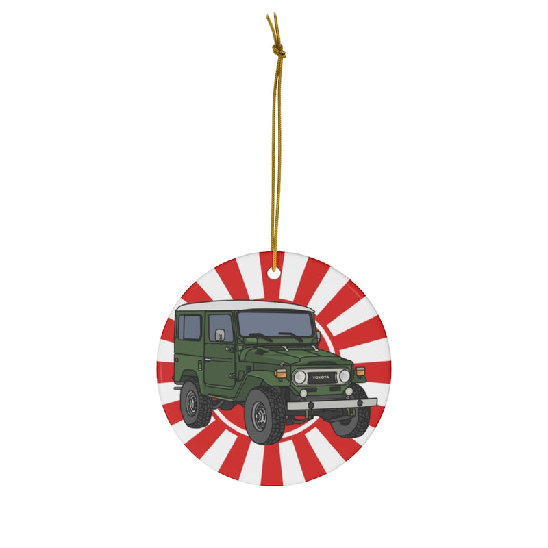 FJ40 Land Cruiser Christmas Ornaments Artist Christopher Marshall by Reefmonkey Gifts for Toyota Fans