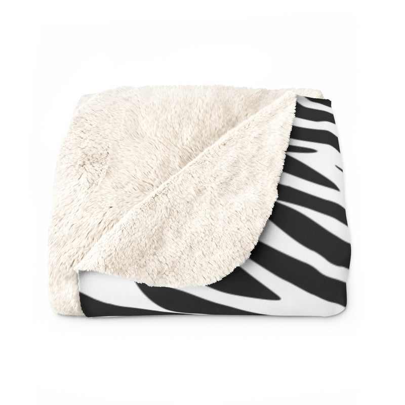 Zebra Print Sherpa Fleece Blanket