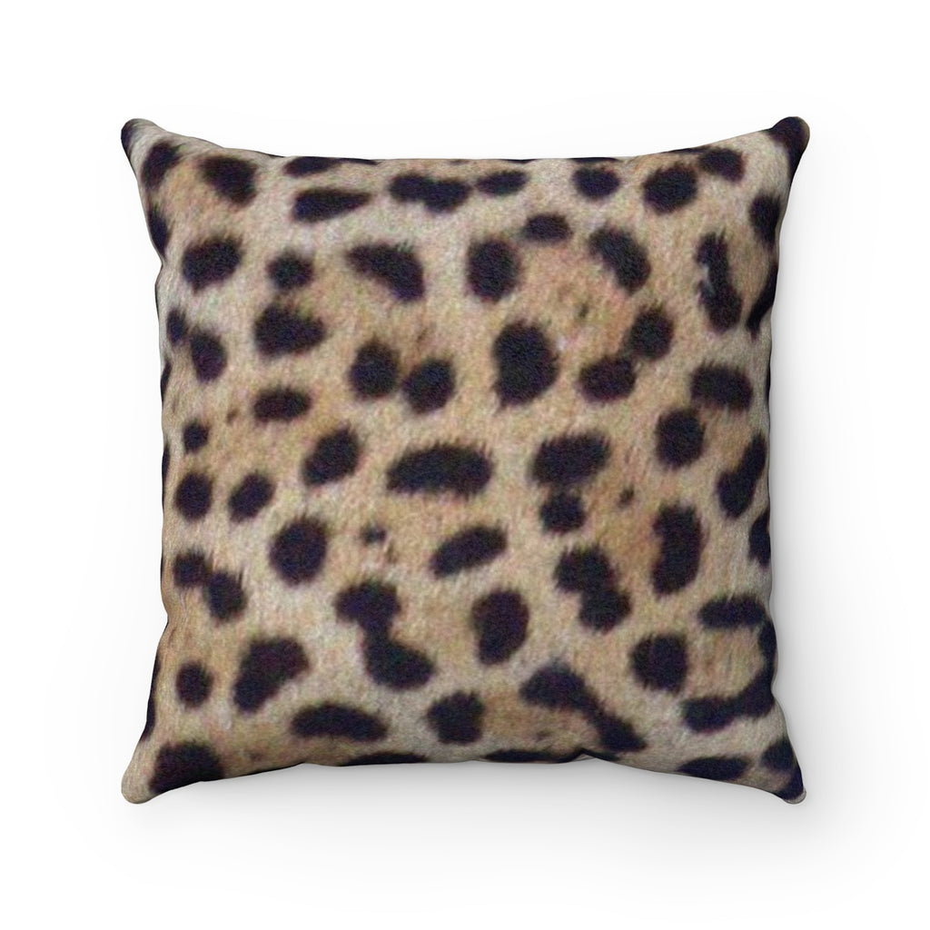 Jaguar Print Faux Suede Square Pillow by Reefmonkey