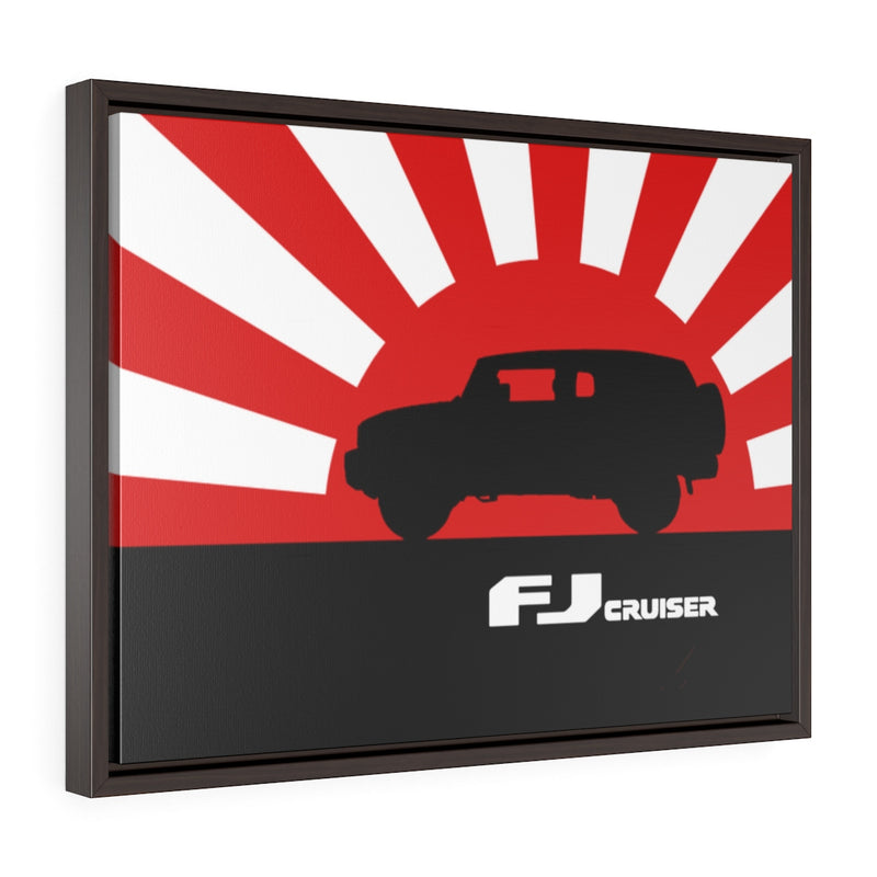 FJ Cruiser Framed Canvas Gallery Wraps Wall art Rising Sun Silhouette Design Toyota FJ Cruiser Artwork by Reefmonkey