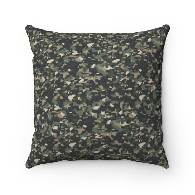 Camoflague Print Faux Suede Square Pillow by Reefmonkey