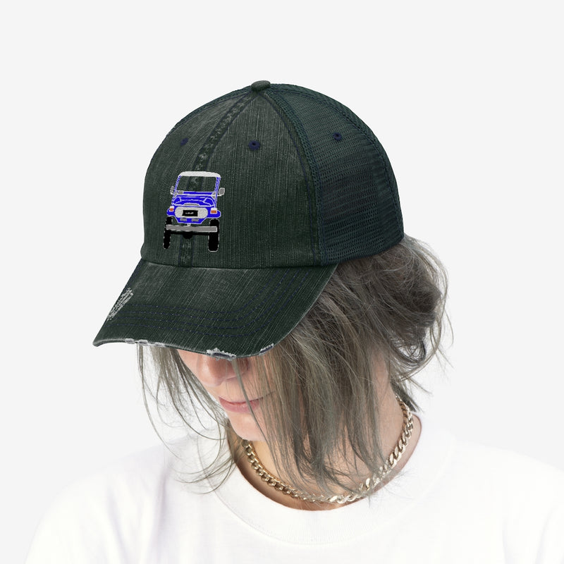 FJ40 Unisex Embroidered Distressed Trucker Hat by Reefmonkey