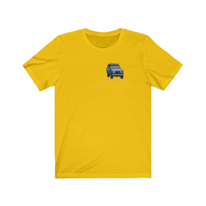 FJ55 Land Cruiser T-shirt Premium Short Sleeve Tee by Reefmonkey Artist Chris Marshall