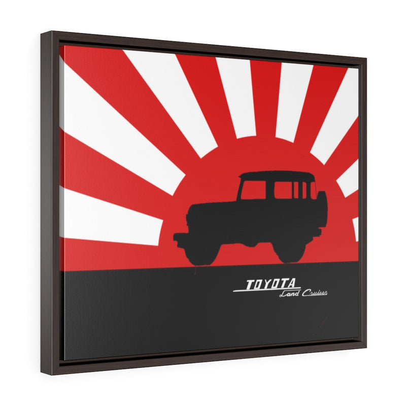 FJ40 Toyota Land Cruiser Framed Canvas Gallery Wraps Wall art Rising Sun Silhouette Design