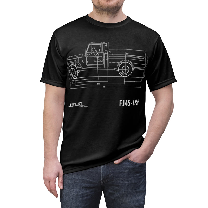 FJ45 All Over Print Diagram T shirt by Reefmonkey Land Cruiser FJ40 Cut and Sew