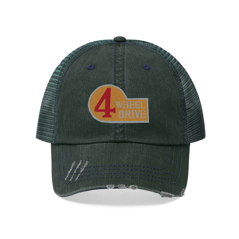 4 Wheel Drive Toyota FJ40 Embroidered Distressed Trucker Hat