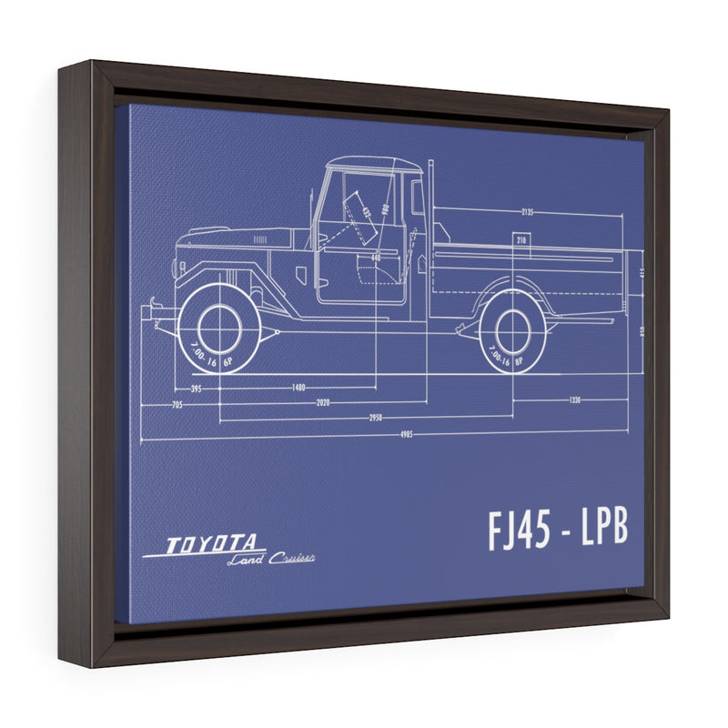 FJ45 Totota Land Cruiser Fine Art Framed Canvas Blueprint Gift for Man Cave Reefmonkey