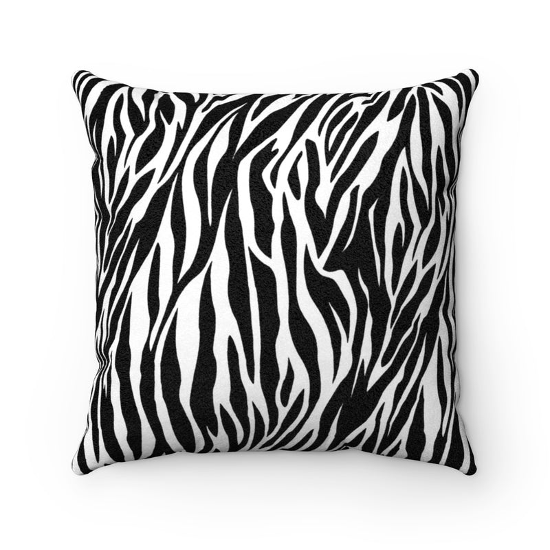 Zebra Print Faux Suede Square Pillow by Reefmonkey