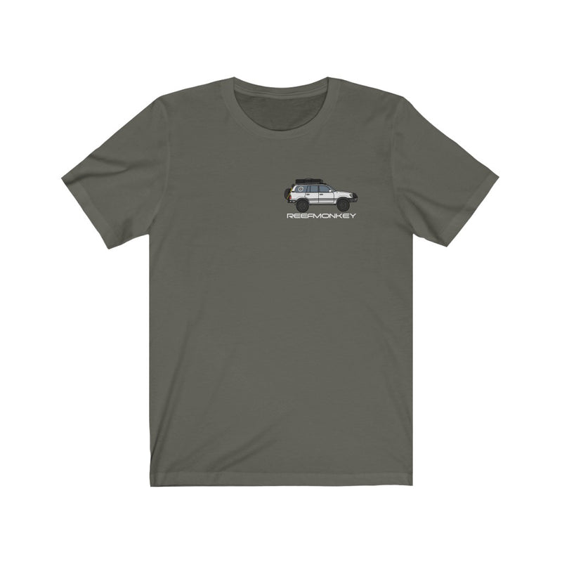 100 Series Land Cruiser T-shirt Premium Short Sleeve Tee by Reefmonkey Artist Chris Marshall
