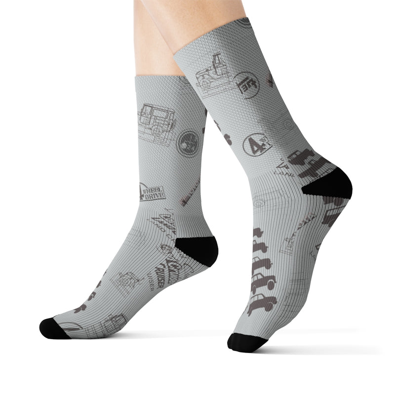 Land Cruiser Gray Sublimation Socks by Reefmonkey