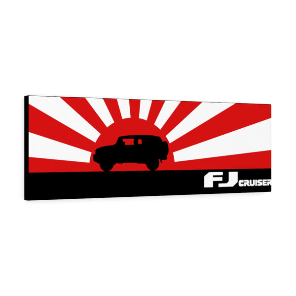 FJ Cruiser Canvas Gallery Wraps Wall Art Rising Sun Silhouette Design - Long Version Toyota FJ Cruiser Artwork by Reefmonkey