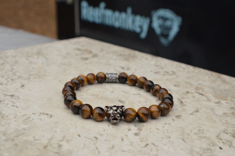 Mens Panther Bracelet Tiger Eye Beaded Bracelet - Reefmonkey