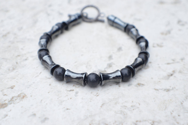 Mens Beaded Bracelet Hematite Jewelry Gifts For Him - Reefmonkey