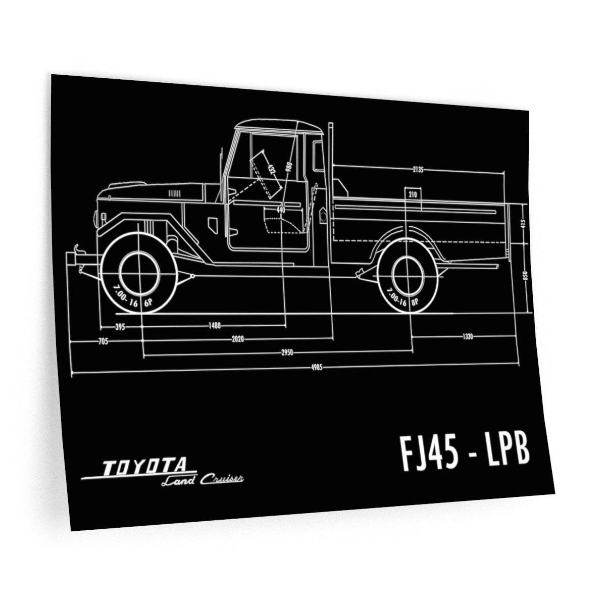 FJ45 Totota Land Cruiser Indoor Wall Decal Gift for Man Cave Reefmonkey