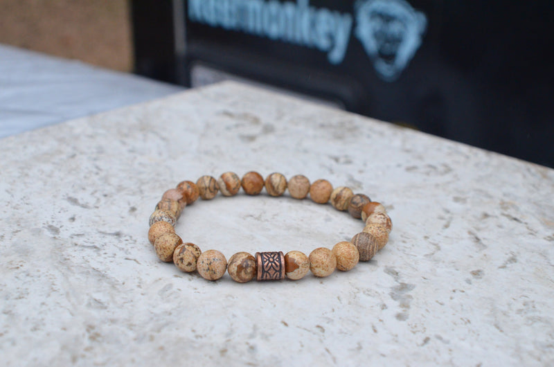 Mens Beaded Bracelet Tan Stone Bracelet Gifts For Guys - Reefmonkey
