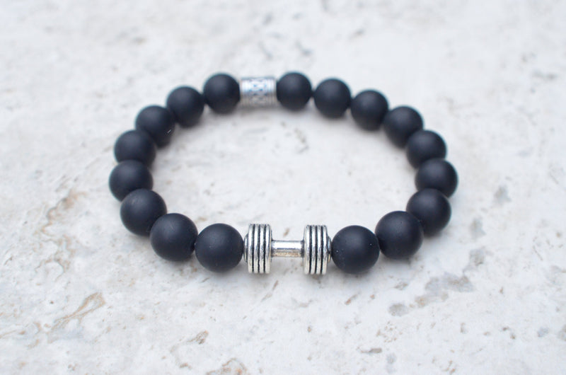 Mens Agate Bracelet with Barbell By Reefmonkey Weightlifting Dumbbell Gift